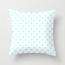 Small Polka Dots - Celeste Cyan on White Throw Pillow