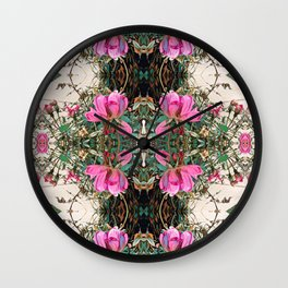 pink roses in motion, pink ombre Wall Clock