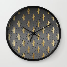 Gold Cactus on Modern Chic Geo Triangles Gradient Wall Clock