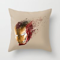 ironman Throw Pillows featuring Ironman by EnragedPeasant