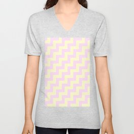 Cream Yellow and Pink Lace Steps RTL Unisex V-Neck