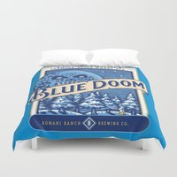 doom Duvet Covers featuring Blue Doom by Moysche Designs
