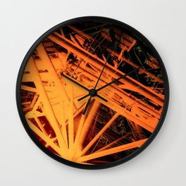 Roof Strut Abstract in Orange Wall Clock