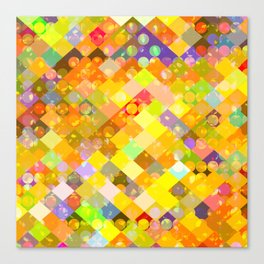 geometric square pixel and circle pattern abstract in yellow orange red blue Canvas Print