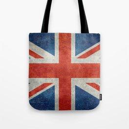 Union Jack flag, grungy retro 1:2 scale Tote Bag
