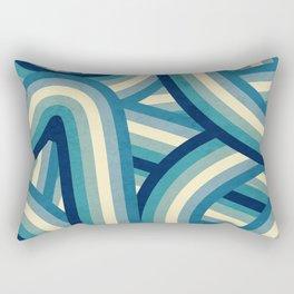 Vintage Faded 70's Style Blue Rainbow Stripes Rectangular Pillow