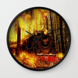 Fire Train Run For Your Life Wall Clock