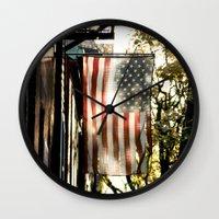 american flag Wall Clocks featuring American Flag by Shy Photog