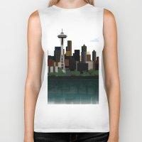 seattle Biker Tanks featuring Seattle by WyattDesign
