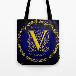 Joshua 24:15 - (Gold on Blue) Monogram V Tote Bag