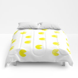 Le motif du caractère jaune (the pattern of the yellow character) Comforters