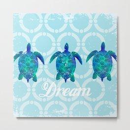 Turtle dream dreamer summer, illustration original painting print Metal Print