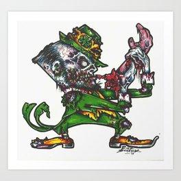 Zombie Fighting Irish Art Print