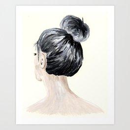Girl With Bun Art Print
