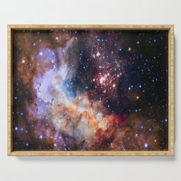 picture of star by hubble: celestial firework Serving Tray