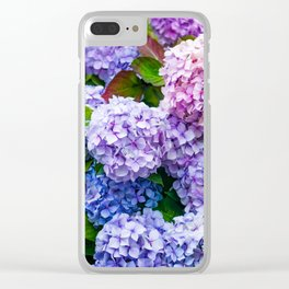 Purple Hydrangeas Clear iPhone Case