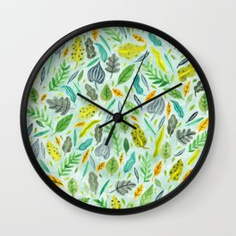Leaves floating in the water Wall Clock