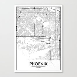 Minimal City Maps - Map Of Phoenix, Arizona, United States Canvas Print