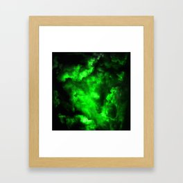 Envy - Abstract In Black And Neon Green Framed Art Print
