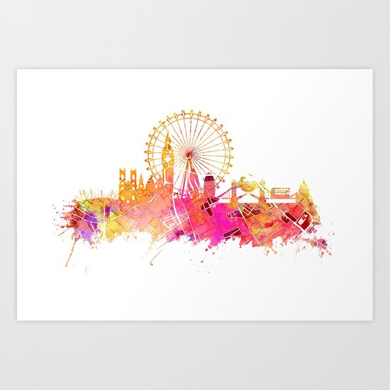 London Skyline Map City Pink Art Print By Jbjart Society6