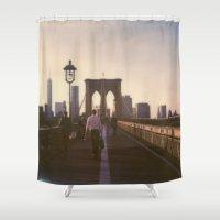 brooklyn bridge Shower Curtains featuring Brooklyn Bridge by Devic Fotos
