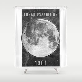 1901 Lunar Expedition Poster Shower Curtain