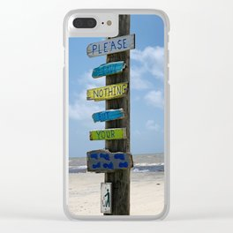 Obey the Beach Sign Clear iPhone Case