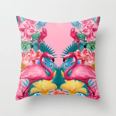 Flamingo and Tropical garden Throw Pillow