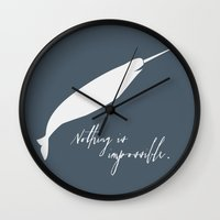 narwhal Wall Clocks featuring Narwhal by Sarah Duet