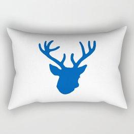 Deer Head: Blue Rectangular Pillow