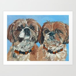 Shih Tzu Buddies Dog Portrait Art Print