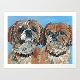 Shih Tzu Buddies Dog Portrait Art Print