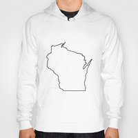 wisconsin Hoodies featuring Wisconsin by mrTidwell