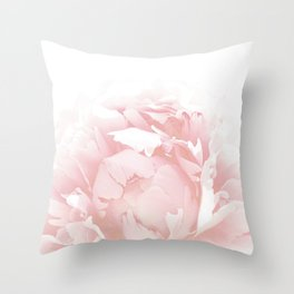 Beautiful Blush Cotton Peony Throw Pillow