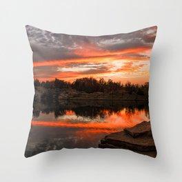 Sunset at Halibut Point Quarry Throw Pillow