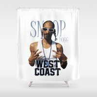 wiz khalifa Shower Curtains featuring Snoop Dogg // West Coast by Gold Blood