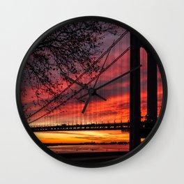 Sunrise at the Bridge Wall Clock