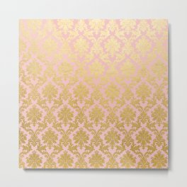 Princess like - Luxury pink gold ornamental damask pattern Metal Print