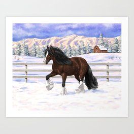 Beautiful Brown & White Bay Gypsy Vanner Draft Horse In Snow Art Print