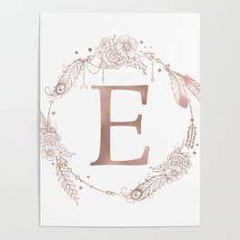 Letter E Rose Gold Pink Initial Monogram Poster