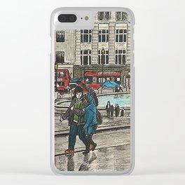 Walking in Trafalgar Square Clear iPhone Case
