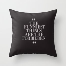 Mark Twain Quote on the funniest things in life, typography, illustration, for laughing, happy life Throw Pillow