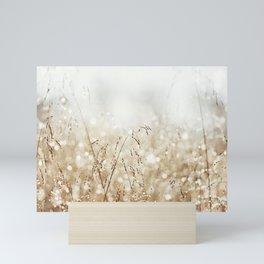 Dewdrop Nature Photography, Neutral Dew Drop, Gold White Brown Beige, Cream Water Drops Mini Art Print