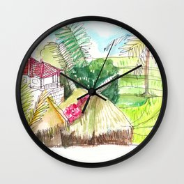 beautiful countryside landscape rice field Wall Clock