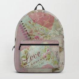 Shabby Chic Love Romantic Decor - Love Skeleton Key Prints Home Decr Backpack