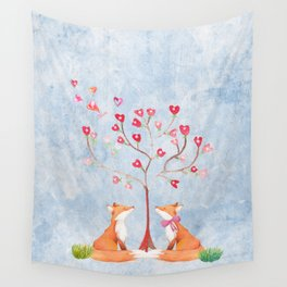 Fox love- foxes animal nature _ Watercolor illustration Wall Tapestry