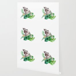 Lemurs watercolor with tropical leaves Wallpaper