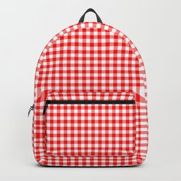 Small Valentine Red Heart Rich Red and White Buffalo Check Plaid Backpack