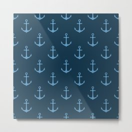 Nautical Anchor Pattern Metal Print