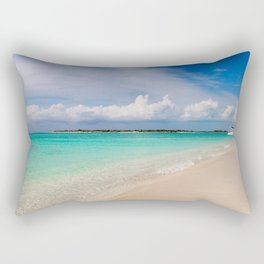 Catamaran on deserted white sand beach Rectangular Pillow